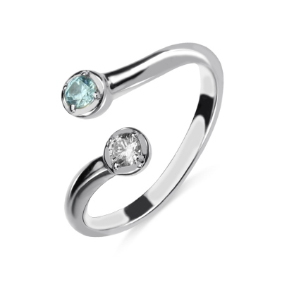 Dual Drops Birthstone Ring In Sterling Silver