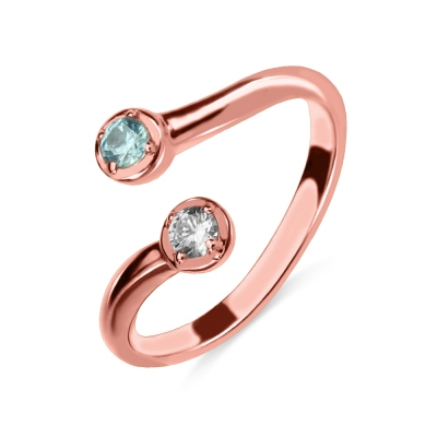 Dual Drops Birthstone Ring Rose Gold