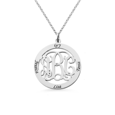Sterling Silver Monogram Necklace Stamped 4 Names