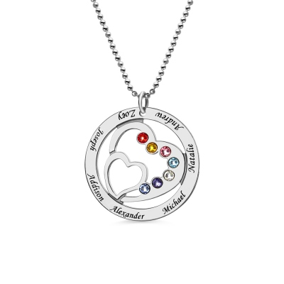 Mom's Heart in Heart Necklace with 7 Kids Names & Birthstones