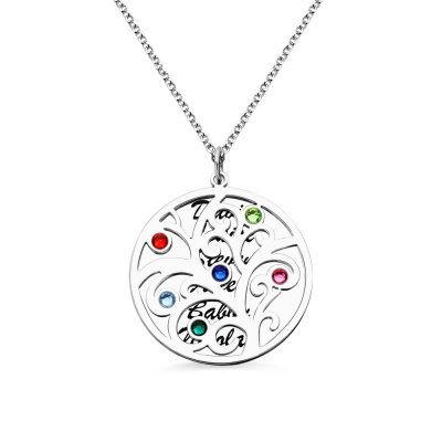 Stamped Names Mother's Day Necklace with Family Tree