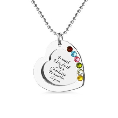 Mother's Heart Necklace Engraved 6 Names and Birthstones