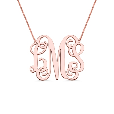 "Personalized 2"" XXL Monogram Necklace In Rose Gold"