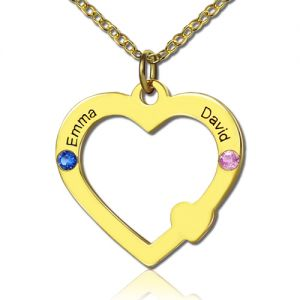 18k Gold Open Heart Necklace with Double Names & Birthstones