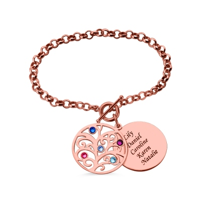 Engraved Family Tree Birthstone Bracelet In Rose Gold