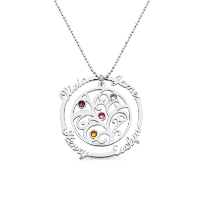 Silver Birthstone Family Tree Necklace with Names for Mothers