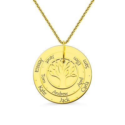 Disc Family Tree Necklace for Mother 18K Gold Plated Silver