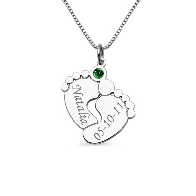 Silver Engraved Baby Feet Necklace with Personalized Birthstone Sale