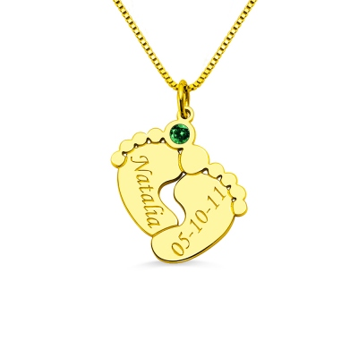 Engraved Birthstone Baby Feet Necklace with Name & Birthday