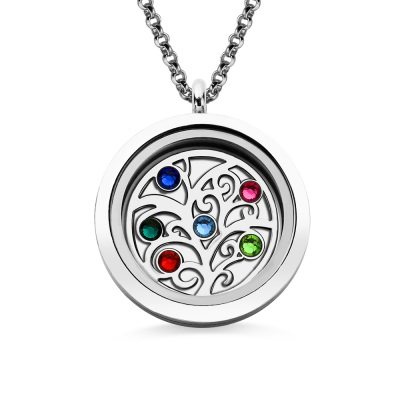 Stainless Steel Family Tree With Birthstones Floating Locket