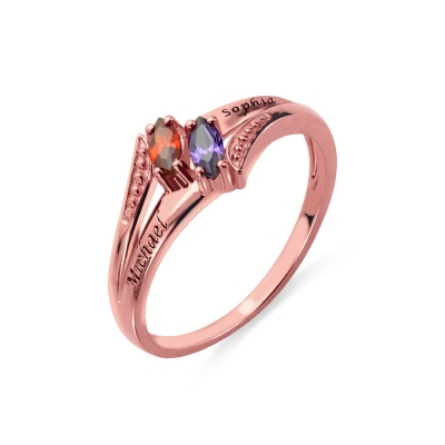 Engraved Double Birthstones Name Ring In Rose Gold