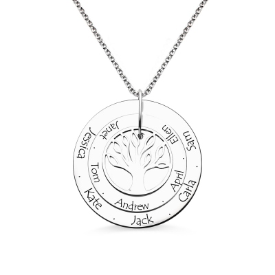 Sterling Silver Disc Family Tree Name Necklace for Grandma