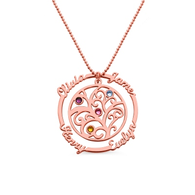 Grandma Birthstone Family Tree Necklace with Name Rose Gold