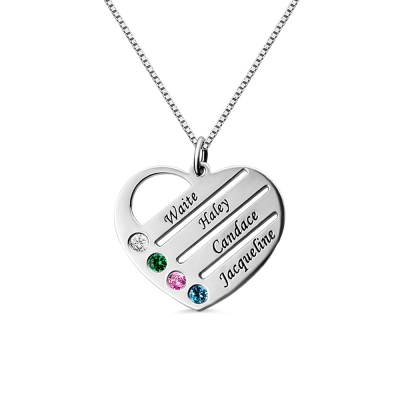 Grandmother's Heart Necklace Gift with Birthstones & Names