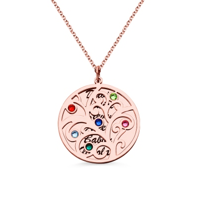 18K Rose Gold Plated Family Tree Birthstone Name Necklace