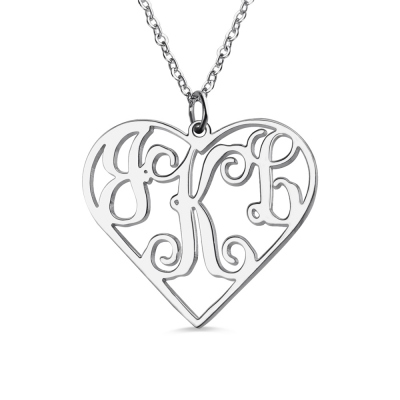 Women's Heart Monogram Necklace Sterling Silver 925