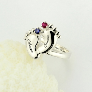 Engraved 5 Types Baby Feet Birthstone Ring