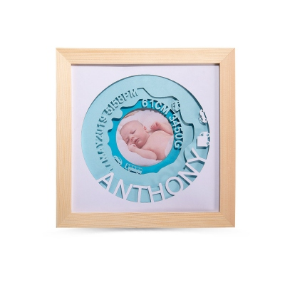 Custom Birth Announcement Photo Frame for Newborn Gift
