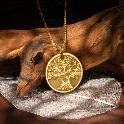 Personalized Carved Heart Tree Necklace