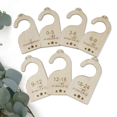 Custom Baby Closet Dividers Wood Hangers Set of 7