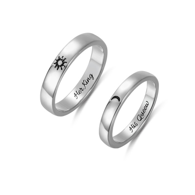 Personalized Sun and Moon Couple Rings Valentine Gift