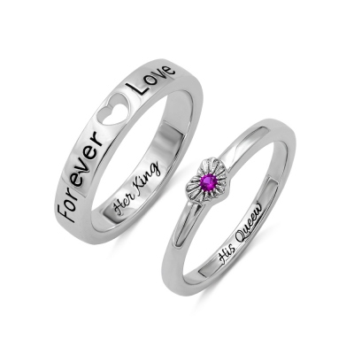 Personalized Heart Birthstone Couple Rings Gift for Lovers