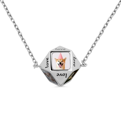 Personalized Polygonal Photo Necklace