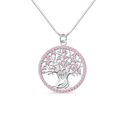 Personalized Heart Tree Birthstone Necklace