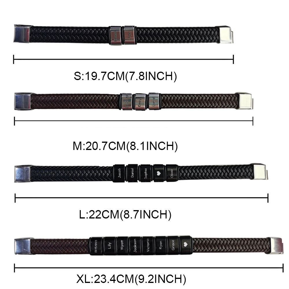 Personalized Beaded Weave Leather Bracelet for Man