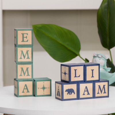 Name Blocks Woodland Nursery Decor for Baby Shower Gift