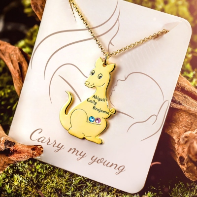 Personalized Kangaroo Family Birthstone Name Necklace