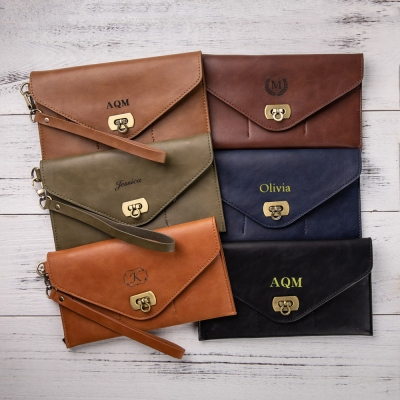 Personalized Leather Clutch Wristlet Wallet