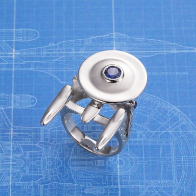 Personalized Uss Enterprise From Star Strek Ring With Birthstone
