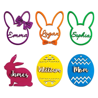 Personalized Easter Basket Name Tag Wooden Gift Tags