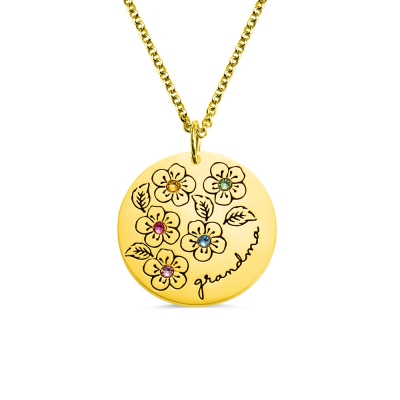 Personalized Birthstone Flower Necklace Gifts for Mother