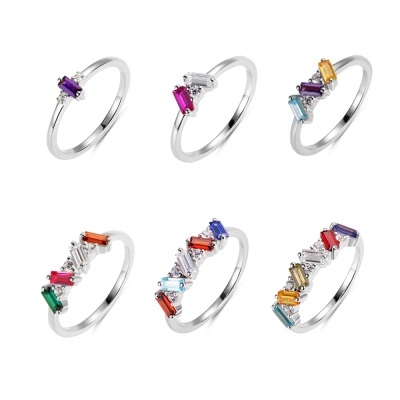 Personalized Baguette Birthstone Ring with 1-6 Rectangular