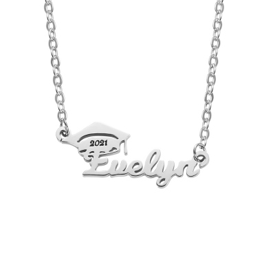Personalized Bachelor Cap Name Necklace Graduation Gifts