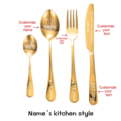 Personalized Cutlery 4-Piece Sets Gift for Adults