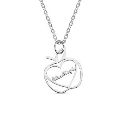 Personalized Apple Name Necklace Graduation Gifts for Teachers