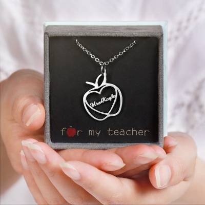 Personalized Apple Name Necklace Graduation Gifts