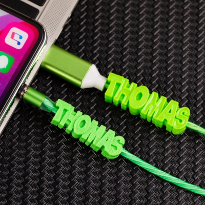 Personalized 3D Printed Name Glowing Magnetic Micro USB Lightning Type C Charging Cable