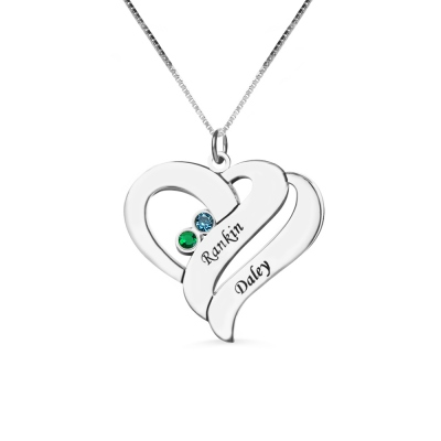 2 Hearts & Birthstones Love Necklace with Names on It