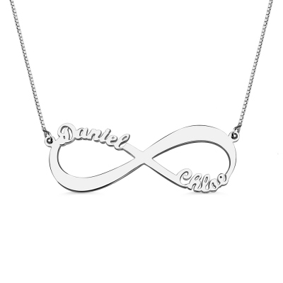 Valentine's Gift: Infinity Symbol Necklace Cut Out 2 Names