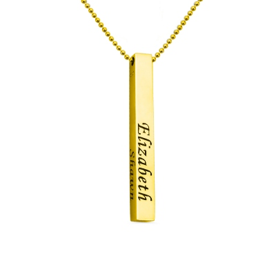 Men's Four-Sided Bar Necklace 18K Gold Plated Silver