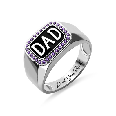 Men's Birthstone DAD Ring Platinum Plated Silver