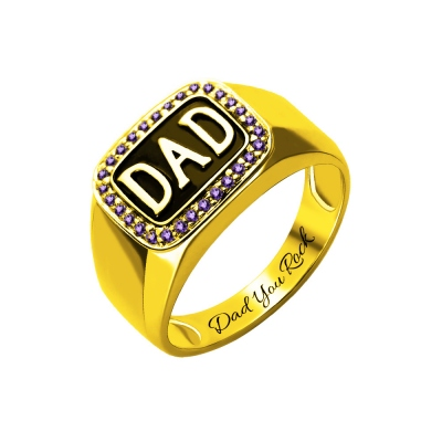 Customizable Men's Birthstone DAD Ring Gold Plated Silver