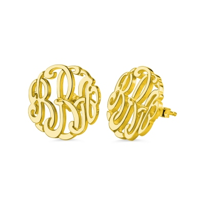 Personalized Hand-painted Monogram Stud Earrings In Gold