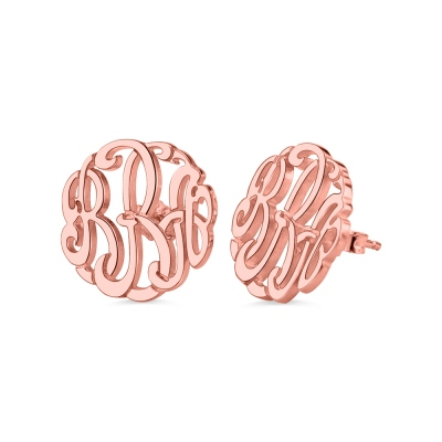 Personalized Hand-painted Monogram Stud Earrings In Rose Gold