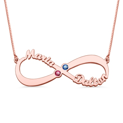 Personalized Infinity 2 Names Birthstones Necklace In Rose Gold