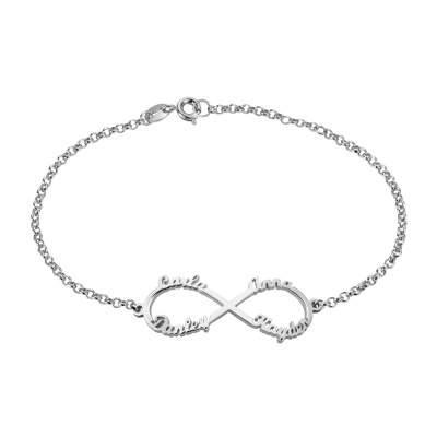 Personalized Infinity Four Names Bracelet In Sterling Silver